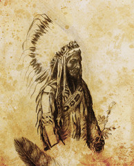 drawing of native american indian foreman Sitting Bull - Totanka Yotanka according historic photography, with beautiful feather headdress, holding rose flower.