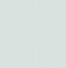 Geometric repeating ornament with white dotted hexagons. Seamless abstract modern pattern