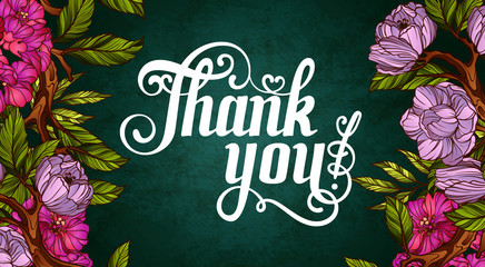 Thank You! Lettering decorated with flowers poster template