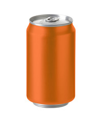 orange aluminum can with space for design and clip path