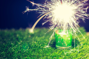 fireworks and green grass