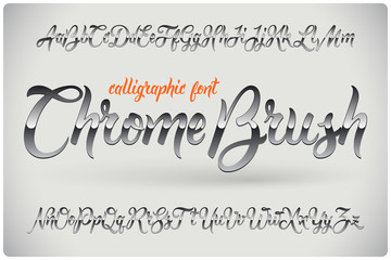 Chrome Brush calligraphic font with glossy metall effect Wall mural