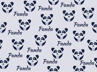 Seamless pattern with pandas. Vector illustration.