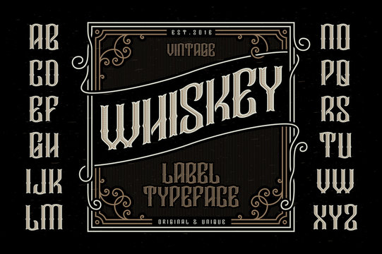 Vintage whiskey label typeface with decorative frame