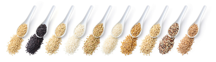 Grains. From left: oats, black rice, brown rice, carnaroli rice, buckwheat, basmati rice, khorasan wheat, barley, quinoa, spelt