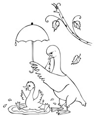Mother-goose holds an umbrella over her son who bathes. Black and white drawing.