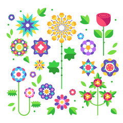 Collection of colorful flowers in flat design. Set of spring flowers. Buds and leaves. Vector illustration.