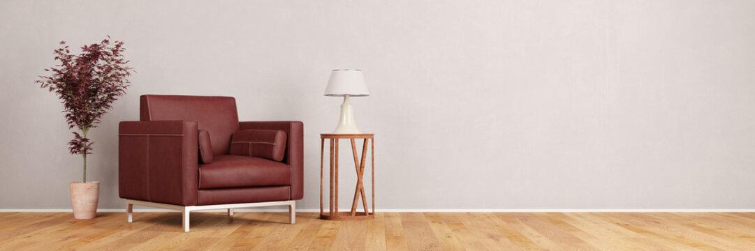 Sessel im Wohnzimmer vor Wand
