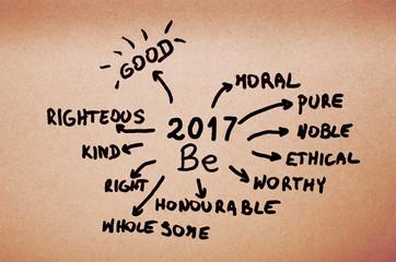 Goals on 2017 Be- handwritten on orange cardboard.