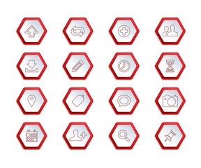Set of outline icons on red hexagon paper shapes