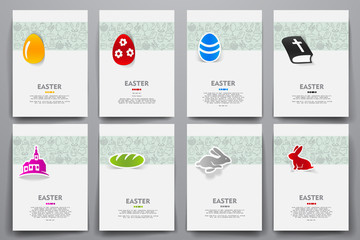Corporate identity vector templates set with doodles easter theme