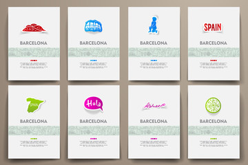 Corporate identity vector templates set with doodles Barcelona theme