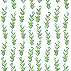 Seamless watercolor pattern with olive branches.