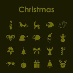 Set of Christmas simple icons