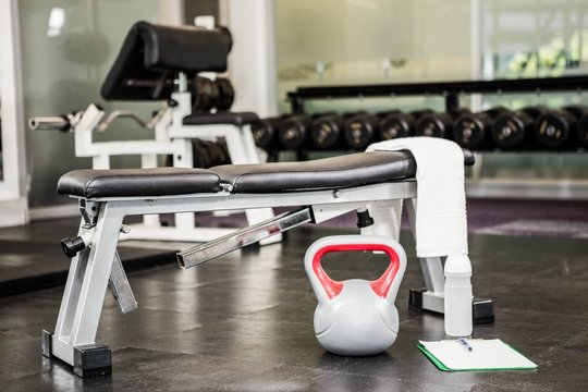 A Bench and some kettlebells