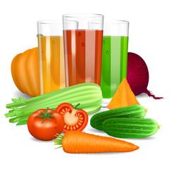 Vegetable juices. Cucumber, tomato, carrot, pumpkin, beet