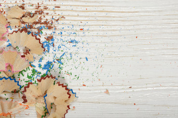 Different colored shavings with copy space