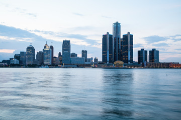 A view of Detroit skyline at sunset