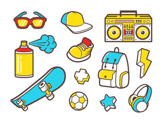 Youth culture symbols. Vector line icons