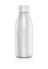 Blank packaging beverage bottle with water drops isolated on whi
