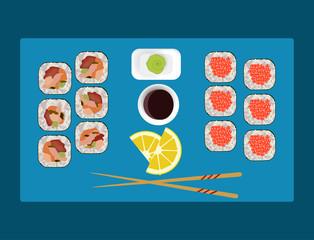 Sushi set, wasabi, soy sauce; lemon, chopsticks