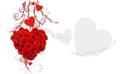 romantischer Hintergrund mit Rosen und Herzen