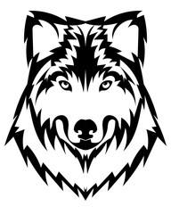 Vector wolf's head as a design element on isolated background