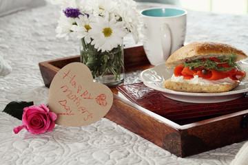 Heart Shaped Mothers Day Card and Breakfast