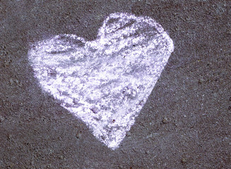 Painted heart chalk
