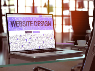 Website Design Concept. Closeup Landing Page on Laptop Screen in Doodle Design Style. On Background of Comfortable Working Place in Modern Office. Blurred, Toned Image. 3D Render.