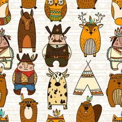 Seamless pattern with wild west element - Illustration