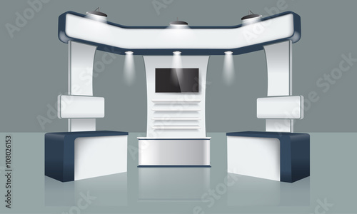 Exhibition Stand Free Vector : Creative exhibition stand design. booth template. corporate identity