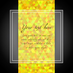 Pattern triangles. Abstract bright yellow background. Vector illustration.