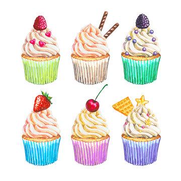 Watercolor cupcakes collection. Watercolor cupcakes set