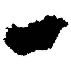 Hungary black map on white background vector