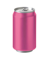 pink aluminum can with space for design and clip path