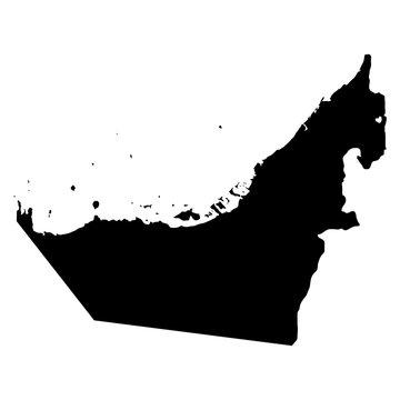 United Arab Emirates black map on white background vector