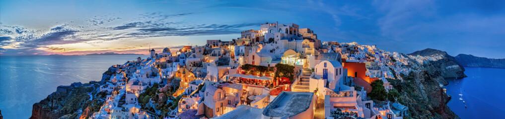 Stores à enrouleur Santorini Santorin Panorama Abendstimmung