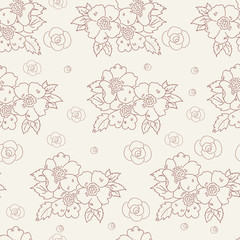 seamless pattern with flowers contour
