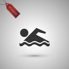 Swimmer icon isolated on gray.
