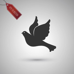 Dove icon isolated on gray.