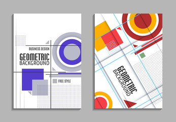 Set of business card. Abstract geometric design, brochure title sheet, reative text frame surface, EPS10. Vector flyer