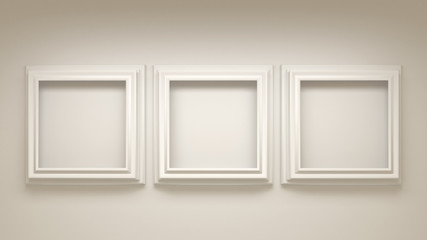 White architectural background with a frame in the interior