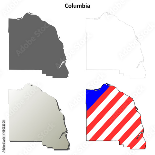 quotcolumbia county oregon outline map setquot stock image and