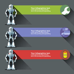 Three silver humanoid robots presenting info graphics with tools, cars and calculators. Digital background vector illustration.