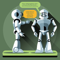Two silver humanoid robots chatting. Digital background vector illustration.