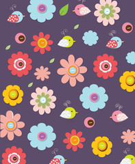 beautiful colorful background with graphic flowers and birds on a red background can be used as a print fabric, bags, t-shirts,