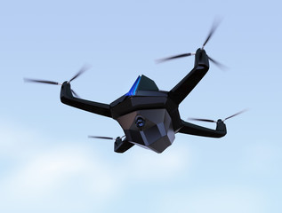 Surveillance drone flying in the sky. 3D rendering image.  Original design.