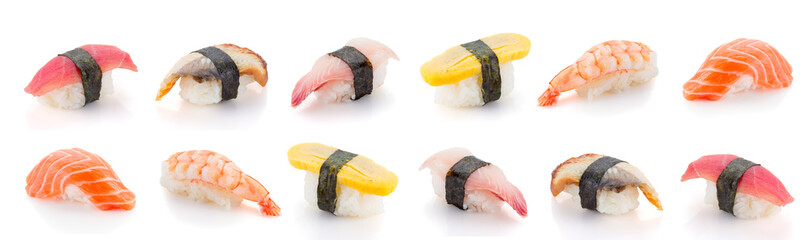 Photo sur Aluminium Sushi bar Set of sushi nigiri isolated on white background