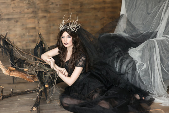 The portrait of beautiful girl in  black dress and crown